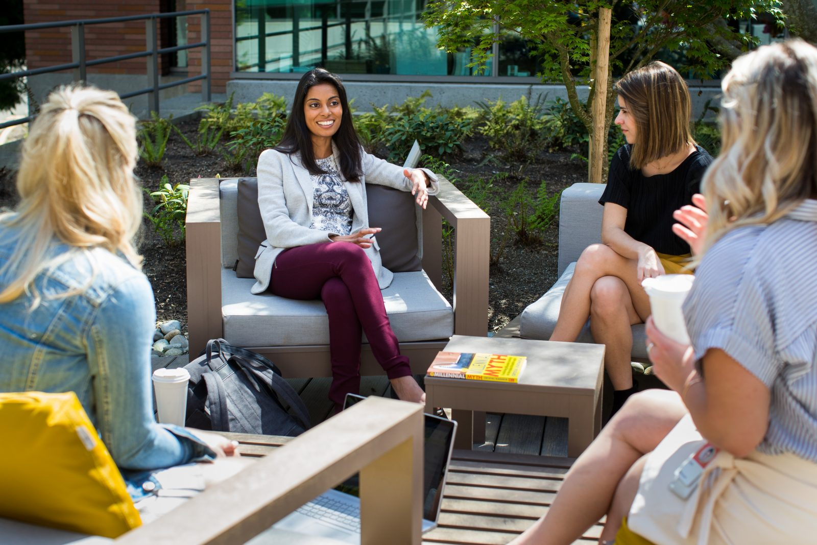 """Crystal Kadakia, founder of Invati Consulting and author of """"The Millennial Myth: Transforming Misunderstanding Into Workplace Breakthroughs"""" is photographed on the campus of Microsoft in Redmond, WA on Thursday, April 26, 2018.  (Photos by Dan DeLong)"""